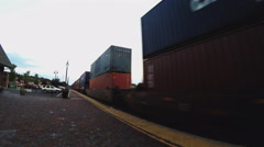 Passing Freight Train With Shipping Containers At Dusk Pan- Flagstaff AZ Stock Footage