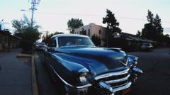 Classic 1950s Cadillac On Flagstaff Arizona Street At Dusk Stock Footage