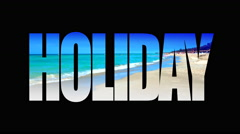 4K Holiday Beach Text, White Sand Beach and Blue Ocean and Sky, Title Graphic Stock Footage