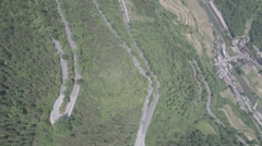 Scenic zigzag mountain road with hairpin curves in central China Stock Footage