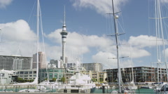 Yachts at the Viaduct Basin Stock Footage