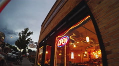 Walking By Brew Pub And Restaurant At Dusk- Flagstaff Arizona Stock Footage