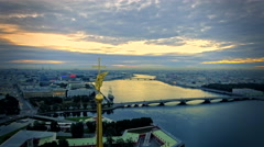 Aerial view of angel on Peter and Paul Fortress in Saint-Petersburg Stock Footage