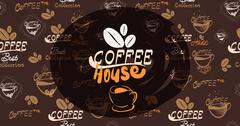 Vector illustration banner for coffee on the vintage background- eps10 Stock Illustration