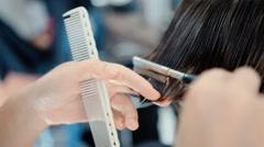 Barber cuts split ends Stock Footage