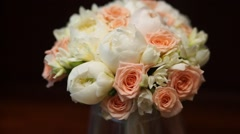 Wedding bouquet, rotates, closeup shot Stock Footage