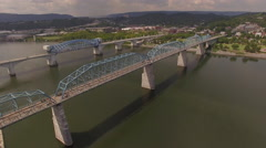 Dramatic Flying Under Bridge Chattanooga Tennessee Stock Footage