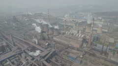Aerial view of massive old steel factory in rust belt Northern China Stock Footage