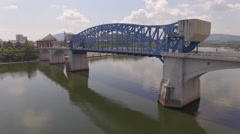 Flying Over Chattanooga Tennessee Bridge Stock Footage