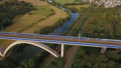 Highspeed train bridge over River Lahn Stock Footage