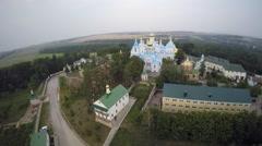 St Dukhovskoi Pochayiv Monastery bird's view Stock Footage
