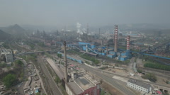 Aerial view of an old steel manufacturing company, heavy industry in China Stock Footage