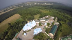 St Dukhovskoi Pochayiv Monastery from above Stock Footage