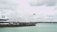 Helicopter landing at Heliport Stock Footage