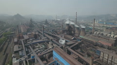 Panoramic aerial overview of industrial landscape in rust belt Northern China Stock Footage