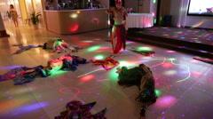 Girls dancing on the dance floor in the restaurant Stock Footage