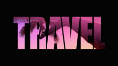 4K Travel, Animated Text Broadcast Graphic, Pink Palm Tree Tropical Background Stock Footage