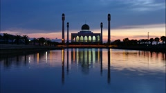 Panning timelapse view of Center Mosque Songkhla in evening,Thailand. Stock Footage