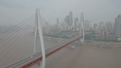 Aerial drone shot cable-stayed bridge Yangtze river, infrastructure urban China Stock Footage