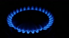 Gas burners in the kitchen oven. Close up Stock Footage