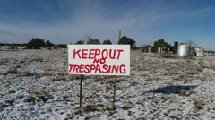 Homemade No Trespassing Sign With Snow Slow Zoom- Valle AZ Stock Footage