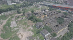 Traditional architecture, construction site, downtown Chongqing China aerial Stock Footage