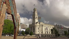 The Aotea Square and the Auckland Town Hall Stock Footage