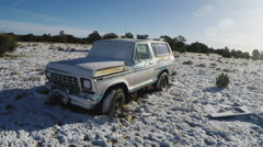 Abandoned SUV Truck In Snowy Field- Valle Arizona Stock Footage