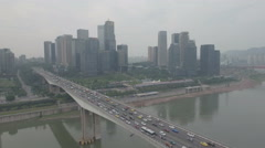 Aerial drone shot of newly built financial business center Chongqing China Stock Footage
