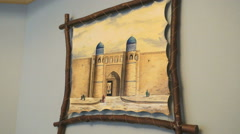 Egyptian strongholds picture hanging on the wall Stock Footage