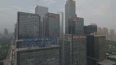 Aerial drone view financial business district, office towers Chongqing China Stock Footage