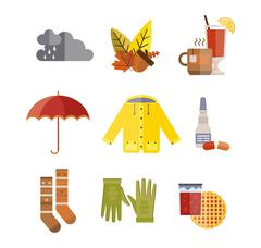 Collection of autumn clothes items Stock Illustration