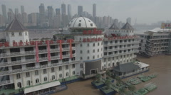 Aerial view of floating restaurants Yangtze river Chongqing China Stock Footage