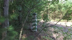 Marking border post in woods near dirt road Stock Footage