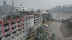 Culinary dining in expensive floating restaurant in Chongqing, aerial China Stock Footage
