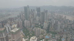 Aerial drone view Chongqing skyline covered in smog, air pollution China Stock Footage