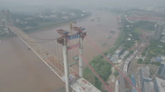 China infrastructure, aerial slider shot of bridge under construction Stock Footage