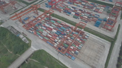 Aerial drone shot of cargo container terminal, inland harbor Chonqing China Stock Footage