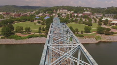 Passing Bridge Very Close in Chattanooga Tennessee Stock Footage