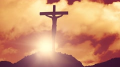 Cross on a hill crucifixion jesus christ christian religion church bible 4k Stock Footage
