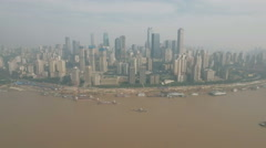 Aerial view of the Chongqing skyline and Yangtze river in China Stock Footage