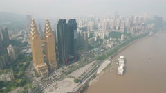 Aerial drone shot Sheraton hotel, hospitality architecture Chongqing China Stock Footage