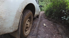 Car's wheels in mud in the forest, off-road. Stock Footage