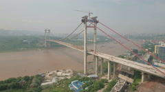 Aerial drone view of bridge under construction, infrastructure Chongqing China Stock Footage