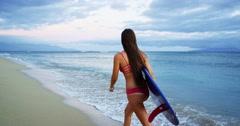 Surfer Girl Beach Susnet Stock Footage
