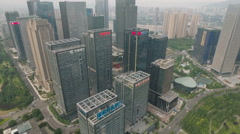High angle drone flight skyscrapers banking sector financial industry China Stock Footage