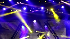 Entertainment concert lighting on stage, bokeh Stock Footage