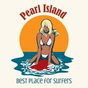 Surfer girl emblem Stock Illustration