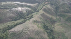 Aerial drone view reflecting sunlight on rice paddy terraces China Asia Stock Footage