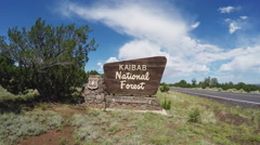 Camera Moves Toward Kaibab National Forest Sign- Flagstaff Arizona Stock Footage